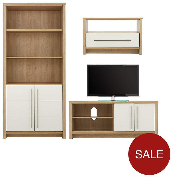 Suri Ready Assembled 3 Piece Living Room Furniture Set - Storage Bookcase, Coffee Table And TV Unit