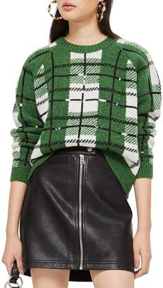 Topshop Sequin Plaid Sweater