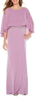 Melrose Short Sleeve Embellished Evening Gown