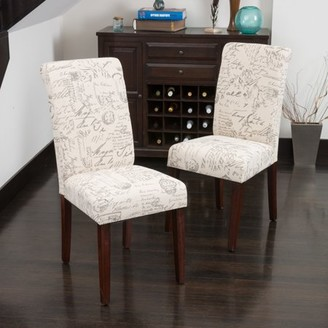 BEIGE Noble House Script Printed Linen Dining Chair (Set of 2)