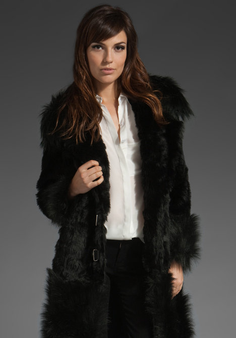 Tracy Reese Faux Fur Combo Coat