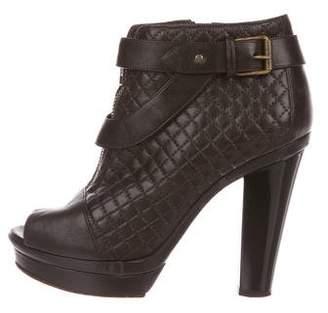 Sonia Rykiel Leather Peep-Toe Booties