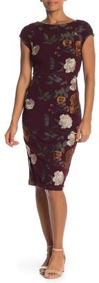 ECI Floral Embroidery Cap Sleeve Dress