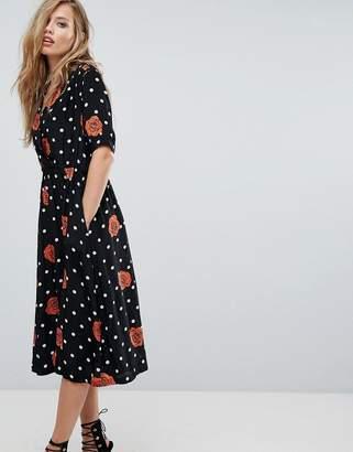 Diesel Polka Dot And Floral Button Through Dress