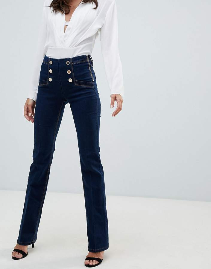 high waist flare jean with buttons in indigo blue