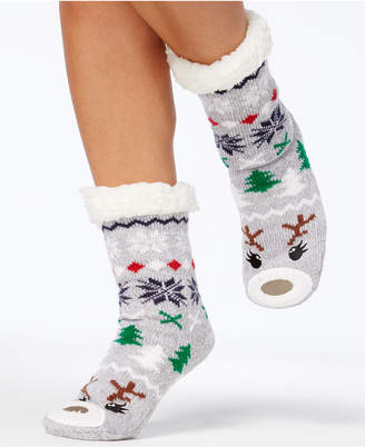 Charter Club Women's Holiday Slipper Socks, with Fleece & Grippers