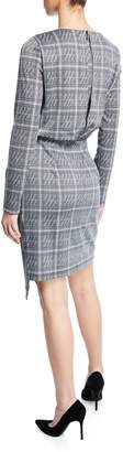 Maggy London Long-Sleeve Draped Plaid Sheath Dress