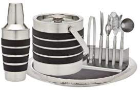 Godinger Nine-Piece Stainless Steel and Leather Barware Set