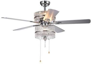 Bed Bath & Beyond Wyllow Crystal 52-Inch 6-Light Ceiling Fan in Grey