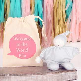 Baby Buddy red berry apple Personalised Bag And Organic Comforter