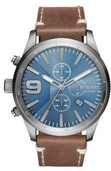 Diesel Advanced Rasp Chrono Stainless Steel & Leather-Strap Watch