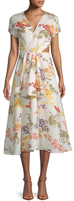 Rosie Assoulin Swept Away Floral Midi Dress