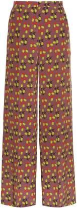 Etro Leaf-print wide-leg silk-crepe trousers