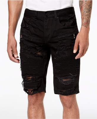 Heritage America Men's Ripped Black Denim Shorts