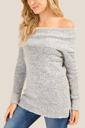francesca's Amelia Off Shoulder Boucle Sweater - Gray