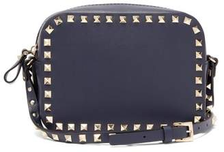 Valentino Rockstud Camera Leather Cross Body Bag - Womens - Navy