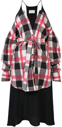 Strateas Carlucci shirt-panelled jersey dress