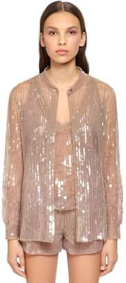 Alberta Ferretti Beaded & Sequined Tulle Shirt