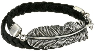 King Baby Studio - Double Wrap Leather Bracelet with Raven Feather Bracelet $390 thestylecure.com