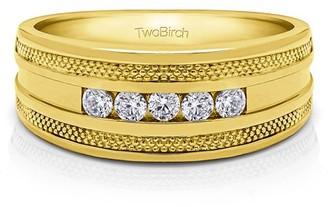 TwoBirch Brilliant Moissanite Mounted in Sterling Silver Brilliant Moissanite Designer Men's Fashion Ring(0.45crt)