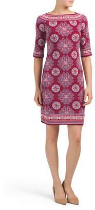 Elbow Sleeve Scarf Print Jersey Dress