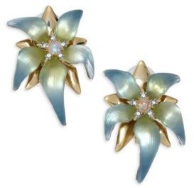 Alexis Bittar Alexis Bittar Lucite, Moonstone & Crystal Petal Clip-On Earrings