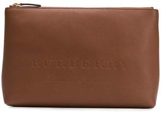 Burberry large embossed zip pouch