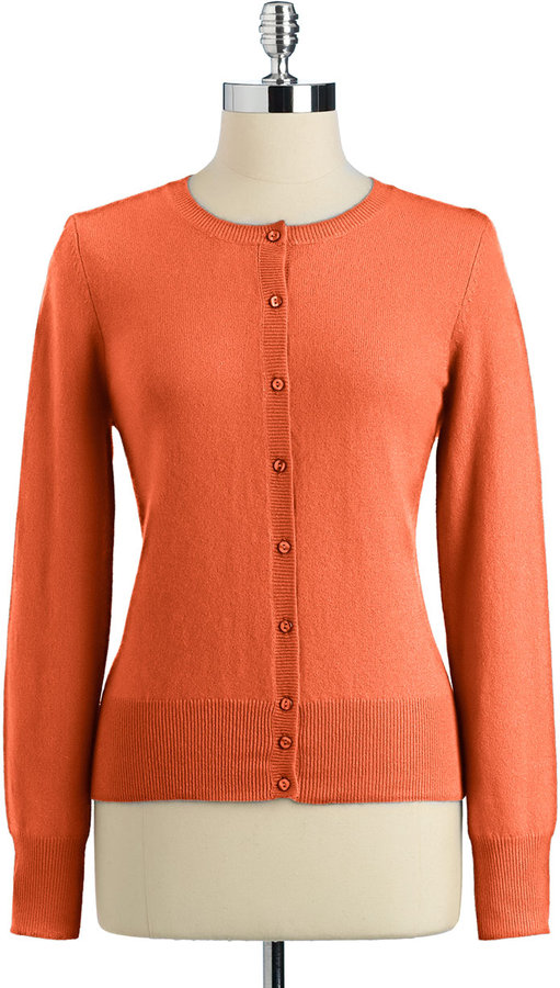 Lord & Taylor Fall Brights Cashmere Long Sleeve Crew Cardigan Sweater