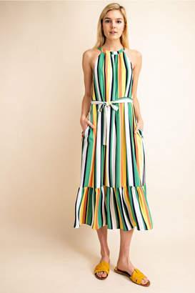Gilli Multi Color Halter Midi Dress
