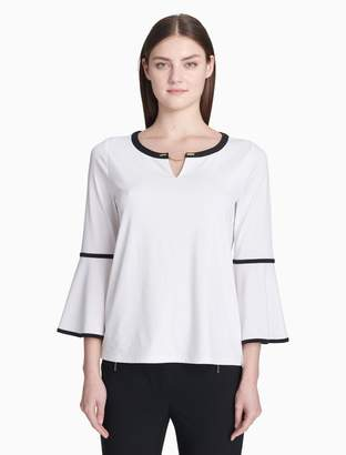 Calvin Klein piped chainlink 3/4 bell sleeve top