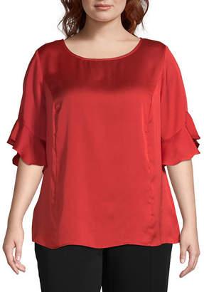 Liz Claiborne Ruffle Sleeve Popover - Plus