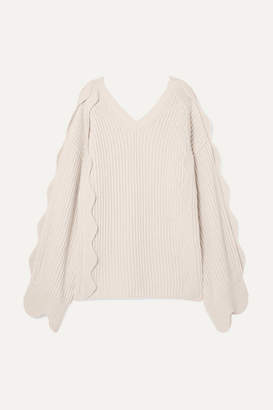 b399b6b8bcff Stella McCartney Oversized Scalloped Ribbed Cotton And Wool-blend Sweater -  Ivory