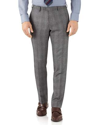 Charles Tyrwhitt Silver Prince Of Wales Slim Fit Flannel Business Suit Wool Pants Size W32 L38