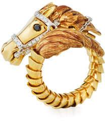 Roberto Coin 18k Coiled Diamond Horse Ring, Size 6.5