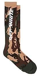 Off-White Men's Logo Stretch-Cotton Mid-Calf Socks-Green
