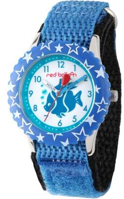 Red Balloon, Fish Boys' Stainless Steel Time Teacher Watch, Blue Bezel, Red Hook and Loop Nylon Strap with Black Backing