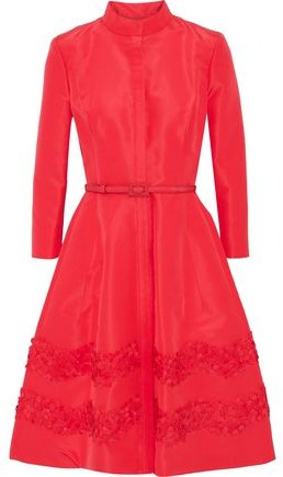 Belted Embellished Silk-Faille Dress