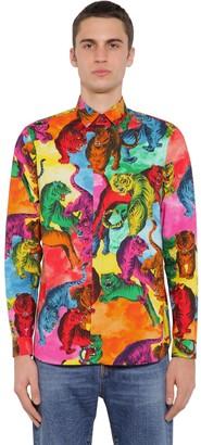 Valentino Tiger Print Cotton Poplin Shirt