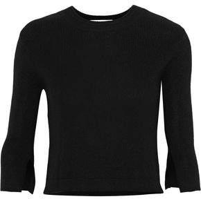 Halston Cutout Silk And Cashmere-Blend Sweater