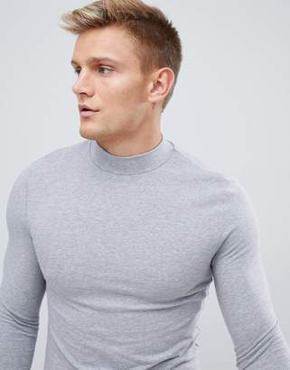 Asos DESIGN muscle fit long sleeve t-shirt with turtleneck in gray