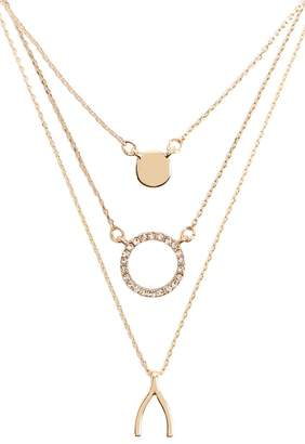 Forever 21 Rhinestone Circle & Wishbone Chain Necklace Set