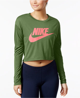 Nike Sportswear Essential Long Sleeve Cropped Top $45 thestylecure.com