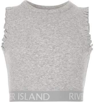 River Island Girls grey marl frill RI hem crop top