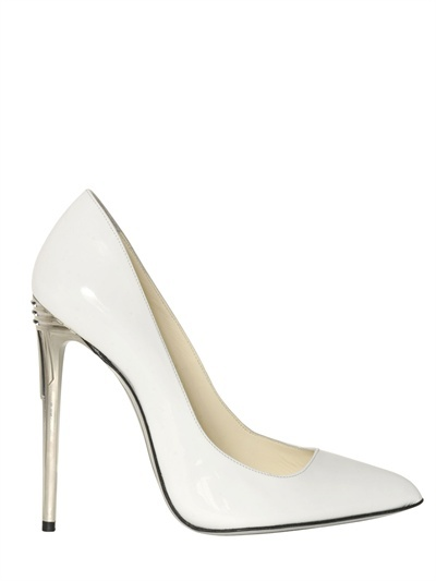 Balmain 100mm White Patent Leather Pumps