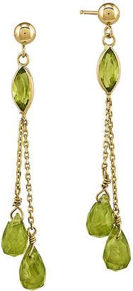 FINE JEWELRY Genuine Green Peridot 14K Yellow Gold Three-Stone Earrings