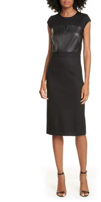Judith & Charles Heathrow Leather Detail Pencil Dress