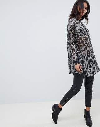 Religion Oversized Shirt In Leopard