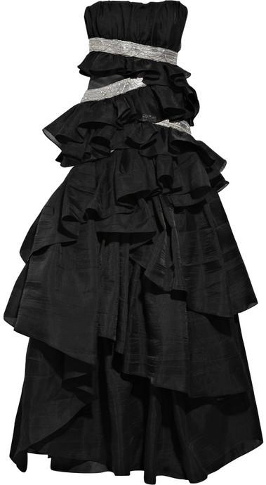 Emanuel Ungaro Embellished tiered wool-blend gown