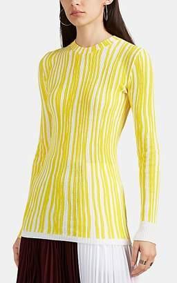 Calvin Klein Women's Striped Ribbed Cotton-Blend Sweater - White