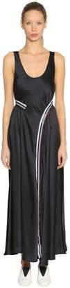 Sportmax Satin Long Dress W/ Striped Logo Band